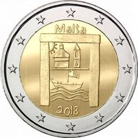 2 евро 2018 г.  Мальта  Культурное наследие . UNC из ролла