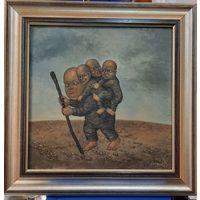 Klein (В. Почицкий, Кляйн). Исход Будды из Афганистана. Холст, масло. 32х32. 2001 год.