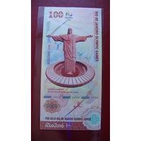 Китай 100 юаней 2016г. коллекционная банкнота. Олимпиада в Рио.   распродажа