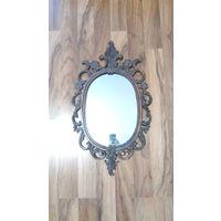 Зеркало в металлической оправе времен СССР  настенное размер оправы примерно 70х40 см.