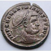 Римская империя, Максимиан Геркулий, АЕ крупный 28мм фоллис, серебрение!!!