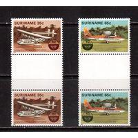 Суринам-1984,(Мих.1080-1081) **  , Авиация, самолеты, пары через поле