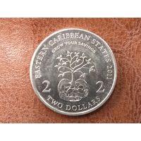 2 доллара 2011 Восточные Карибы ( 10 лет Финансовому Месяцу )