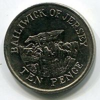 (B1) ДЖЕРСИ - 10 ПЕНСОВ 1992 UNC