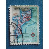Мозамбик 1955г. Португальская колония. Карта.