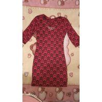 Платье  красное с чёрным принтом