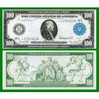 [КОПИЯ] США 100 долларов 1914 г. Синяя печать.