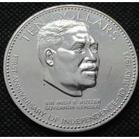 10 долларов 1974 год, Багамские острова. серебро