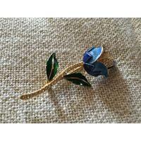 Брошь Голубая Роза Германия винтаж