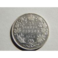 Канада 25 центов 1913г