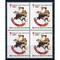 США, непочтовые марки - 1981г. - Рождество, Новый Год - 4 марки - сцепка - MNH, есть сгиб по перфорации (Лот 121Е). Без МЦ!