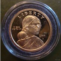 США 1 доллар 2001 года (пруф). Знак монетного двора S. Идеальное состояние!!! Редкость! Ниже цены каталога Краузе!