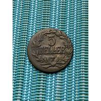Немецкая Восточная Африка 5 геллеров  1916 Т  г.