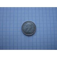 Австралия 6 пенсов 1955, серебро