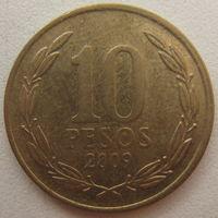 Чили 10 песо 2009 г.