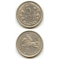 Литва 5 лит 1925 г. Серебро KM#78