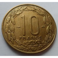 """Камерун Французский 10 франков 1958 """"Три африканские антилопы"""""""