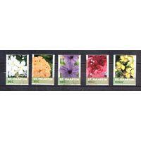 2017 Синт-Мартен Mi SX 536-9 + 545 - Цветы. - 5 марок цветов из дорогой серии MNH ** /