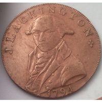 ВЕЛИКОБРИТАНИЯ ЛЭКИНГТОН 1/2 пенни 1794 год