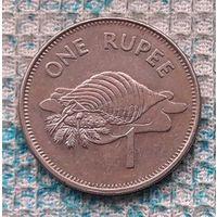 Сейшельские острова 1 рупия 2010 года. Большая морская раковина. Герб Сейшел.