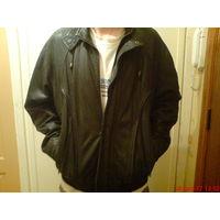 Куртка зимняя, кожаная  с подстежкой из меха 52 р