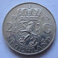 Нидерланды 2,5 гульдена 1963 - серебро