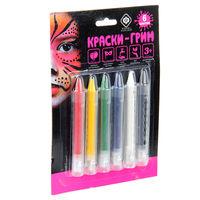 Краски-грим в карандаше  выдвижные, 6 цветов