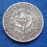 Южная Африка Британский доминион 6 пенсов 1942 Георг VI тип 1