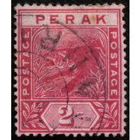 Кошки. Малайя, Перак. 1892. Тигр 2с. Марка из серии. Гаш.