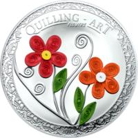 "Острова Кука 2 доллара 2016г. ""Quilling Art"". Монета в капсуле; подарочном футляре; сертификат; коробка. СЕРЕБРО 15,5гр.(1/2 oz)."