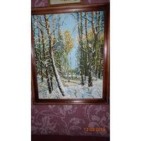 Чудесный зимний пейзаж. Масло, холст. Винтаж