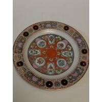 Тарелка декоративная старинная Китай ручная роспись