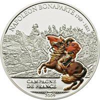 """Острова Кука 5 долларов 2009г.  """"Наполеон I Бонапарт"""". Монета в капсуле. СЕРЕБРО 25гр."""