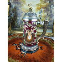 Аукцион! Большая Керамическая кружка Охота пивная олень Фарфор Керамика АРТ 02-55