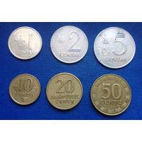 Литва 1, 2, 5, 10, 20, 50 центов 1991-2000