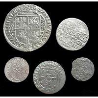 5 МОНЕТ РП 1621 г. (ОРТ, 3 ГРОША, ПОЛТОРАК, СОЛИД, ДВУДЕНАРИЙ) СИГИЗМУНД III (1587-1632) - ПО БЛИЦУ ПОЧТОЙ БЕСПЛАТНО !