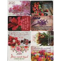 Карманные календарики Венгрии-флора,10 шт,2020