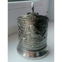 Подстаканник Чаепитиеу самовара, кольчугино, латунь, серебрение