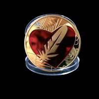 "Монета  ""позолота, красное сердце, перо"". распродажа"