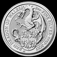Великобритания 5 фунтов, 2017 Звери Королевы - Дракон Уэльса в капсуле. 2 унции.Коллекционные монеты.Серебро 999 пробы