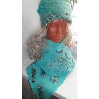 Женский комплект из шапочки и шарфика