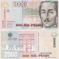 Колумбия 2000 песо образца 2014 года UNC p457