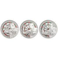 """Острова Кука 3 доллара 2014г. """"Дартс"""". Монеты в капсулах; сертификаты. Cu/посеребрение 3х25 гр."""
