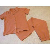 Мужская пижама из нат. хлопка на 44-46 р. оранжевого цвета в клетку. Идеально состояние.