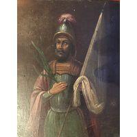Старинная Икона Святого великомученика Феодора Тирона размер 22 на 17 см толщина 2 см ОРИГИНАЛ
