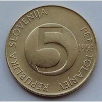 Словения 5 толаров. 1993