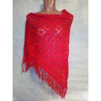 Вязаная красная шаль, ручная работа