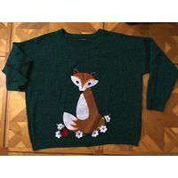 Свитер пуловер с лисой 48-52 цвет изумрудный