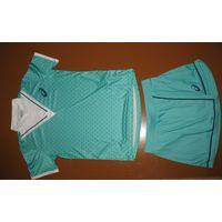 Женский спортивный комплект майка+ юбка Asics ,оригинальный.Виды спорта: теннис, бадминтон, сквош. Модель 17 года, цвета мяты,  размер М-44-46, новый, 120 руб. т.