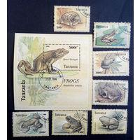 Танзания 1996 г. Лягушки. Фауна, полная серия из 7 марок + блок #0076-Ф1
